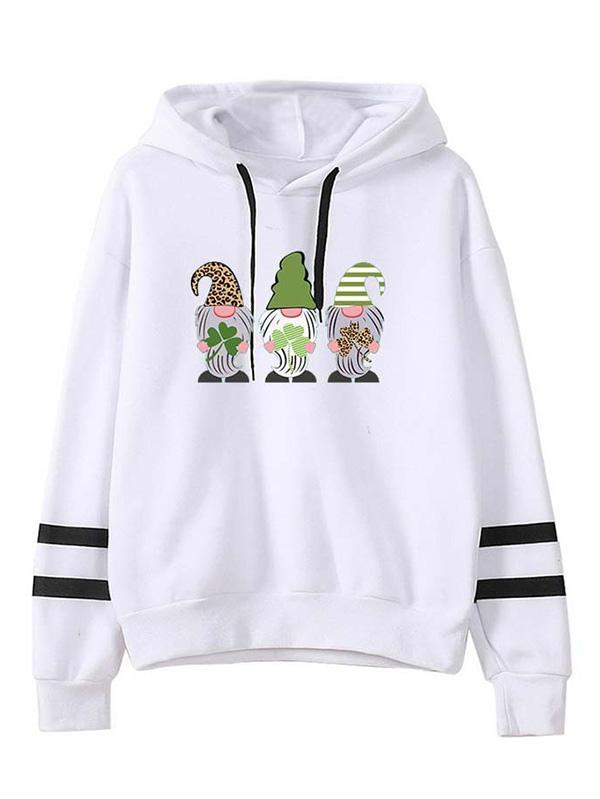 Happy Patricks Day Gnome Clover Graphic Hoodie