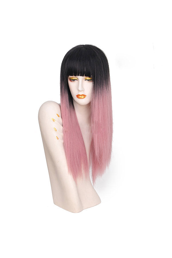 Natural Look With Bangs Gradient Long Straight Wigs Pink