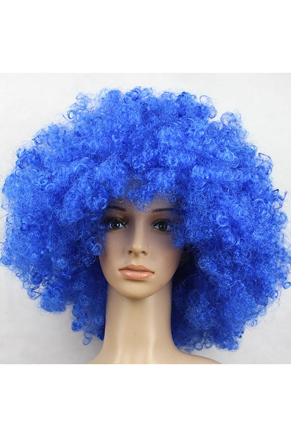Wild-Curl Up Wig For Halloween Christmas Party Masquerade Sapphire Blue