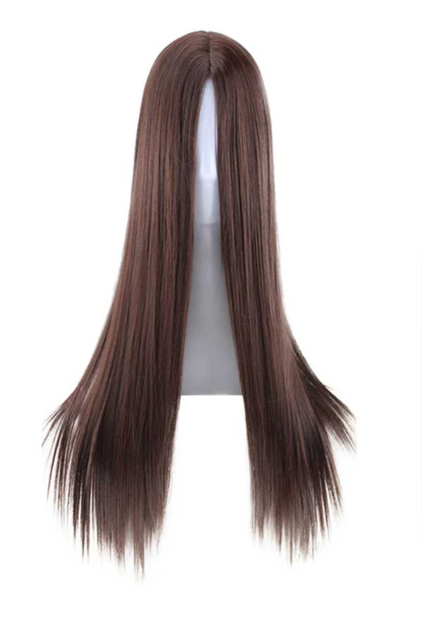 Natural Long Straight Synthetic Wig Heat Resistant Cosplay Wig For Women