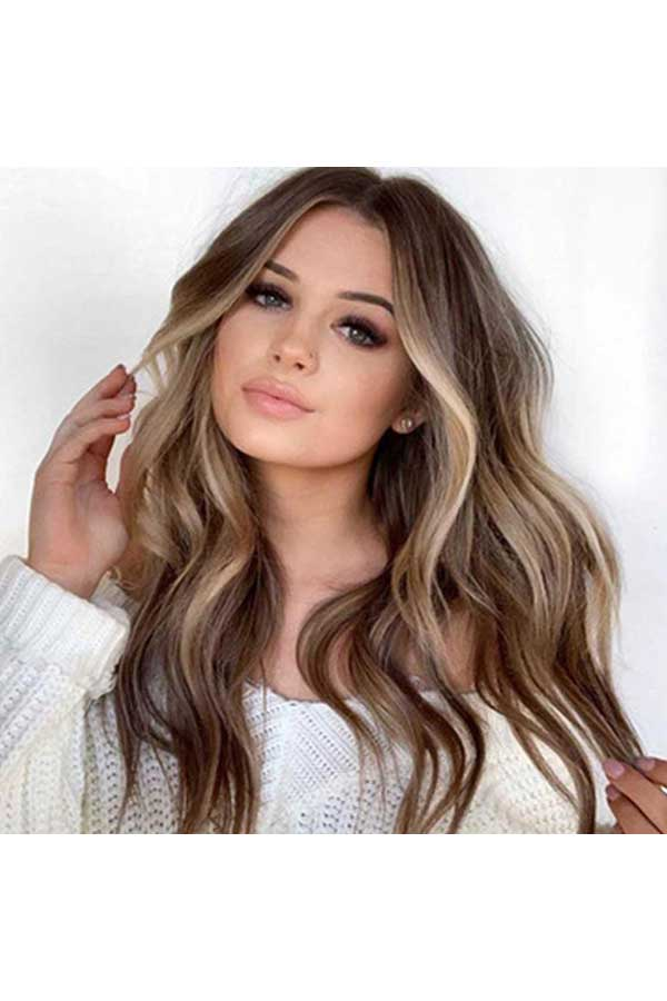 Women's Heat Resistant Synthetic Long Wavy Wig With Bangs