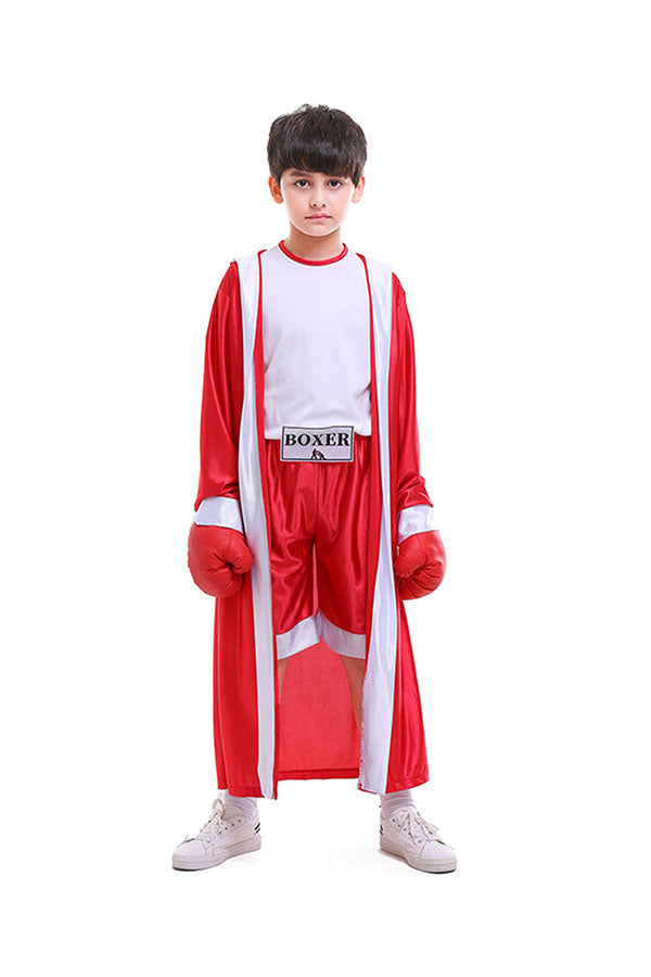 High Quality Cool Halloween Cosplay Boxer Kids Costume Red