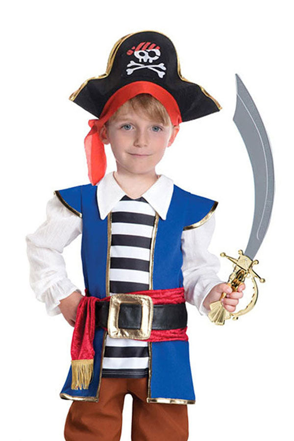 Cute Halloween Cosplay Pirate Boys Kids Costume Blue