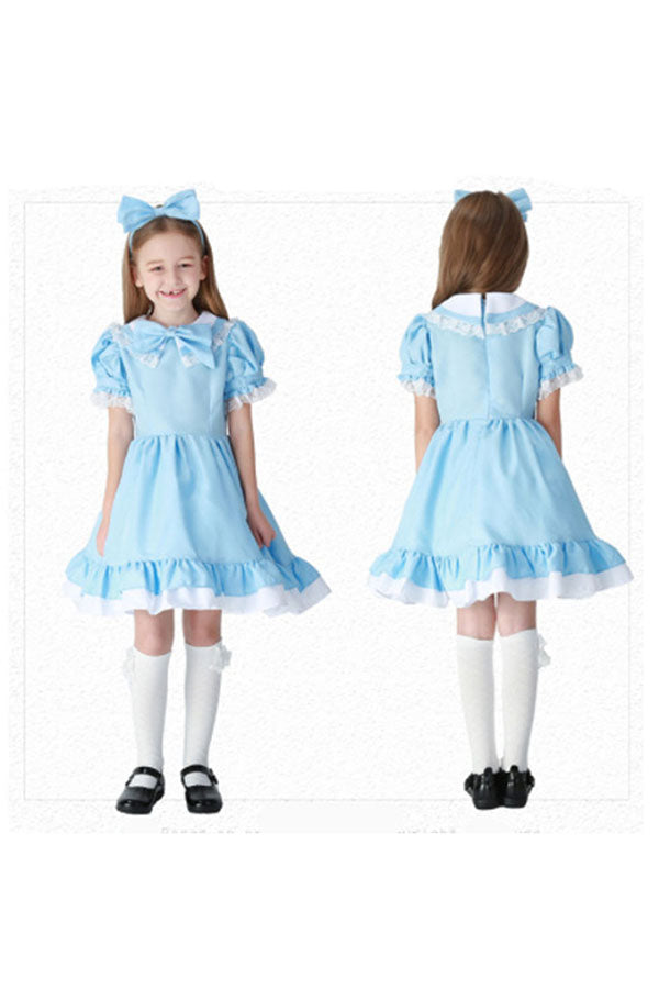 Halloween Alice In Wonderland Girl's Princess Maid Costume Blue