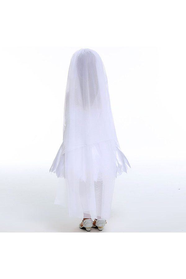 Sweet Dress Halloween Zombie Bride Costume For Girls White