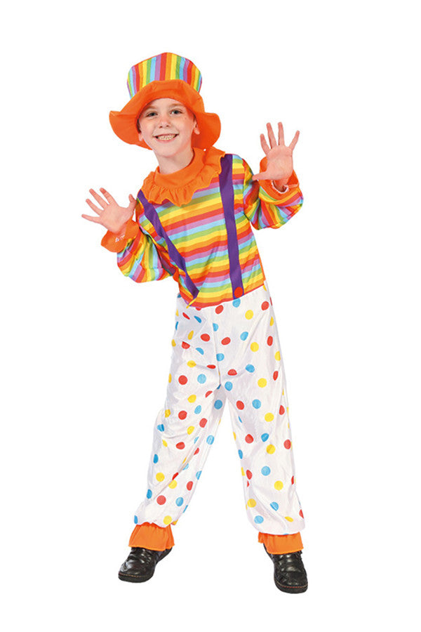 Cute Colorful Kids Boys Halloween Cosplay Dot Circus Clown Costume