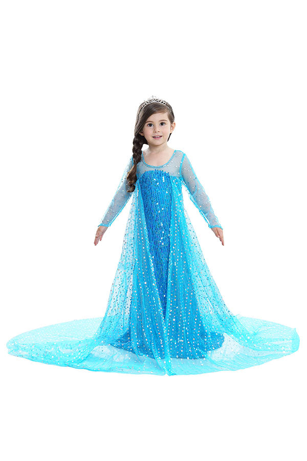 Halloween Sweet Fancy Dress Little Girl Frozen Elsa Costume Blue