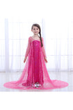 Halloween Sweet Fancy Dress Little Girl Frozen Elsa Costume Rose Red