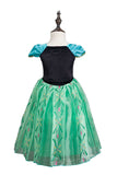 Halloween Short Sleeve Graceful Little Girl Frozen Anna Costume Green