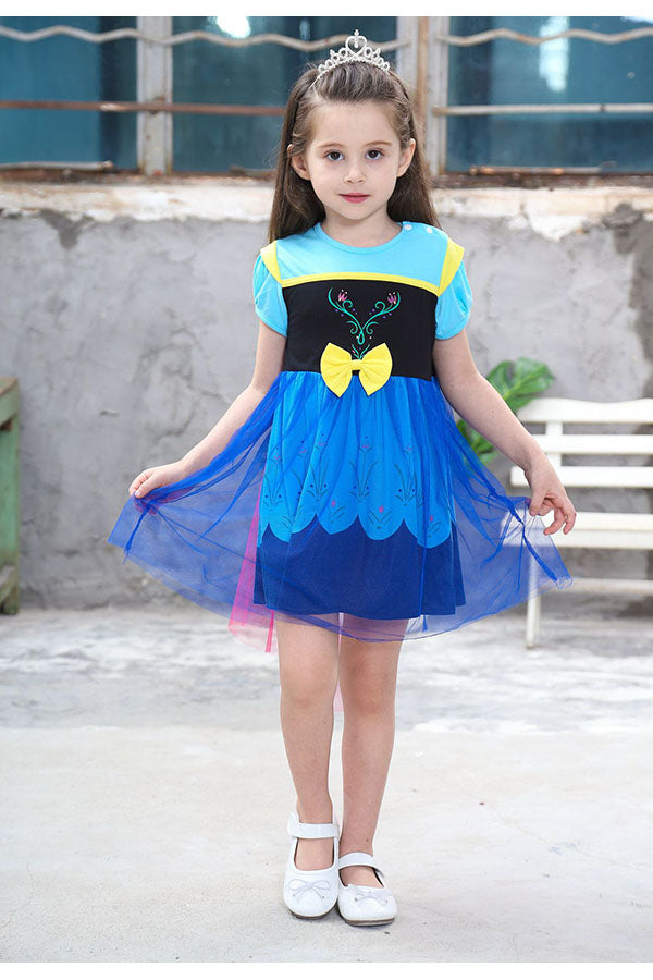 Halloween Cute Short Sleeve Mini Little Girl Frozen Anna Costume Blue