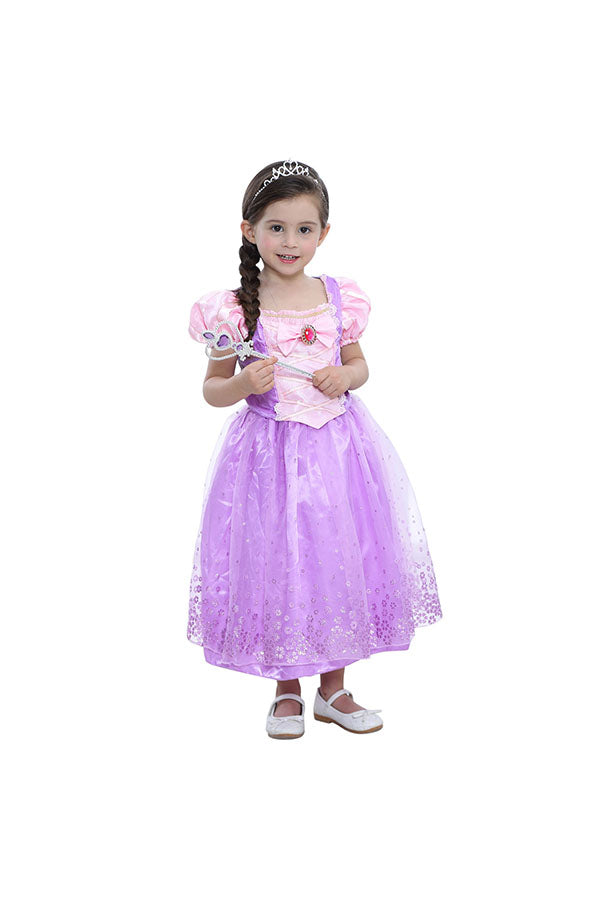 Halloween Short Sleeve Sweet Little Girl Princess Sophia Costume Purple