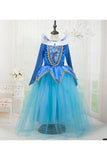 Halloween Long Sleeve Graceful Little Girl Princess Aurora Costume Blue