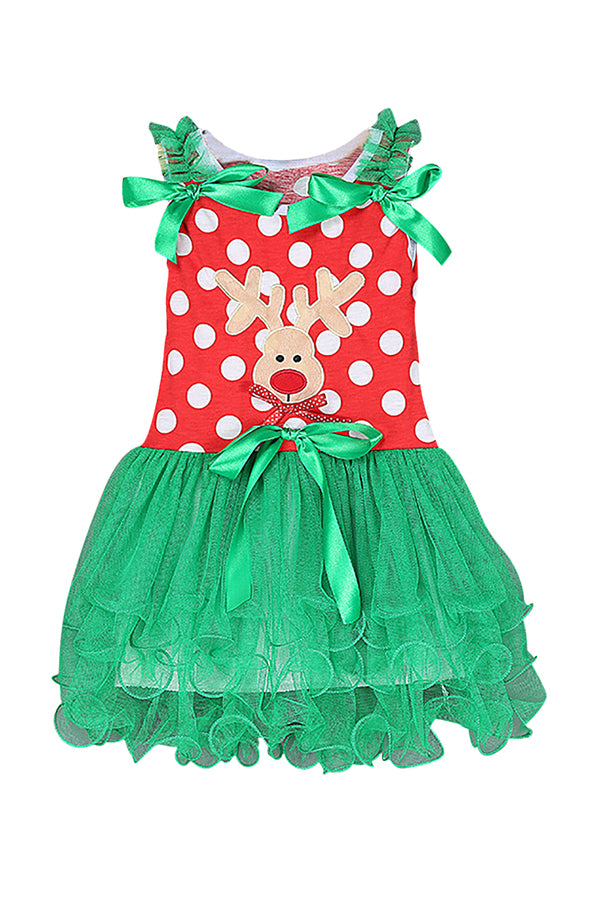 Reindeer Print Christmas Costume Santa's Little Helper Dress For Girls