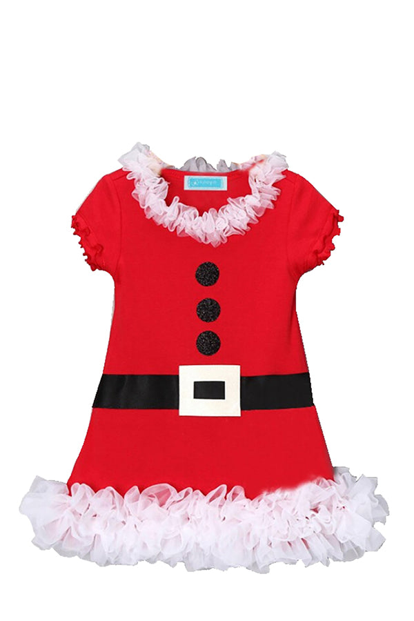 Fancy Kids Short Sleeve Dress Fur Christmas Santa Claus Costume Red
