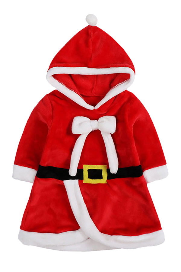Infant Kids Girls Hooded Bowknot Dress Christmas Santa Claus Costume
