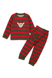 Cute Long Sleeve Reindeer Print Stripe Christmas Kids Pajama Suit Red