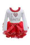 Crew Neck Long Sleeve I Love Santa Print Kids Christmas Costume Dress