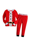 Long Sleeve Sleepwear Kids Boys Christmas Santa Claus Pajamas Suit Red