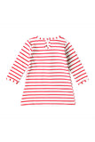 Cute Crew Neck Long Sleeve Stripe Christmas Reindeer Print Dress Pink
