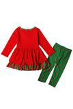 Cute Long Sleeve Kids Girls Christmas Reindeer Print Dress Red
