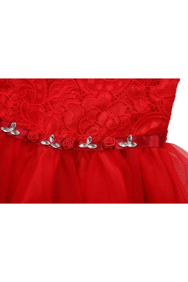 Sleeveless Kids Girls Fancy Lace Christmas Party Princess Dress Red