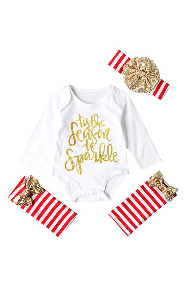 Baby Girls Long Sleeve Romper Stripe Leg Warmer Christmas Costume White