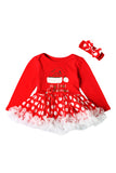 Cute Crew Neck Long Sleeve Hat Print Baby Girls Christmas Dress Red