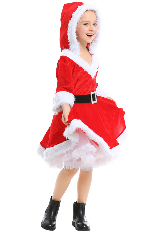 Girls Sweet Santa Christmas Dress Costume