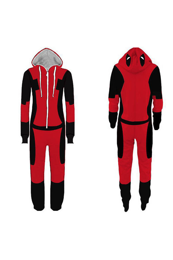 Long Sleeve Hooded Mens Halloween Deadpool Costume Pajama Dark Red
