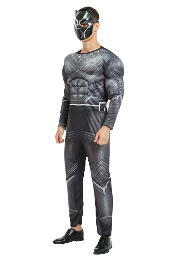 Halloween Mens Black Panther Jumpsuit Costume