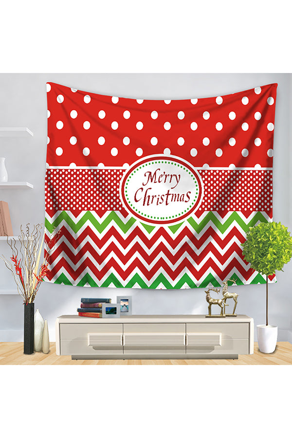Home Decor Polka Dot Color Block Merry Christmas Wall Tapestry Red