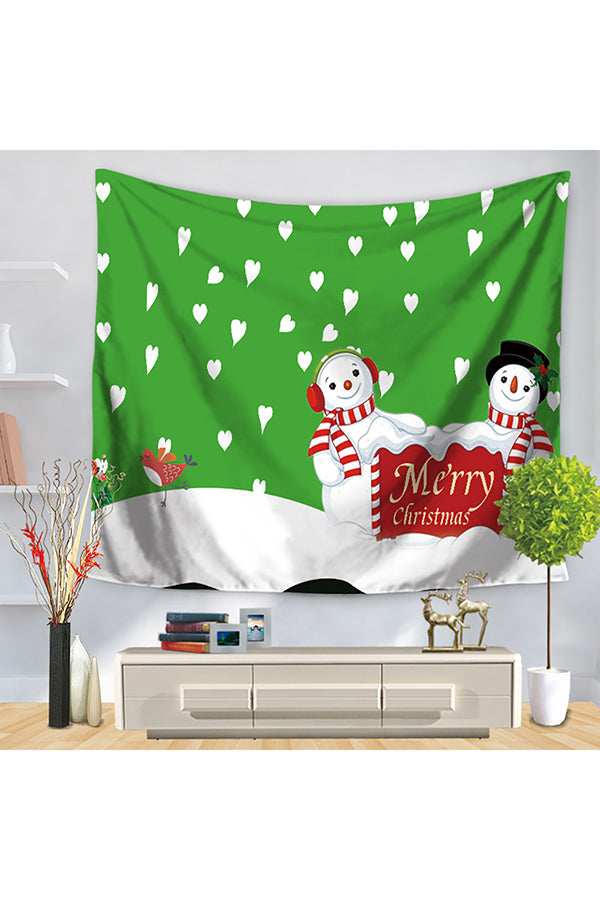 Home Decor Cute Snowman Print Merry Christmas Wall Tapestry Green