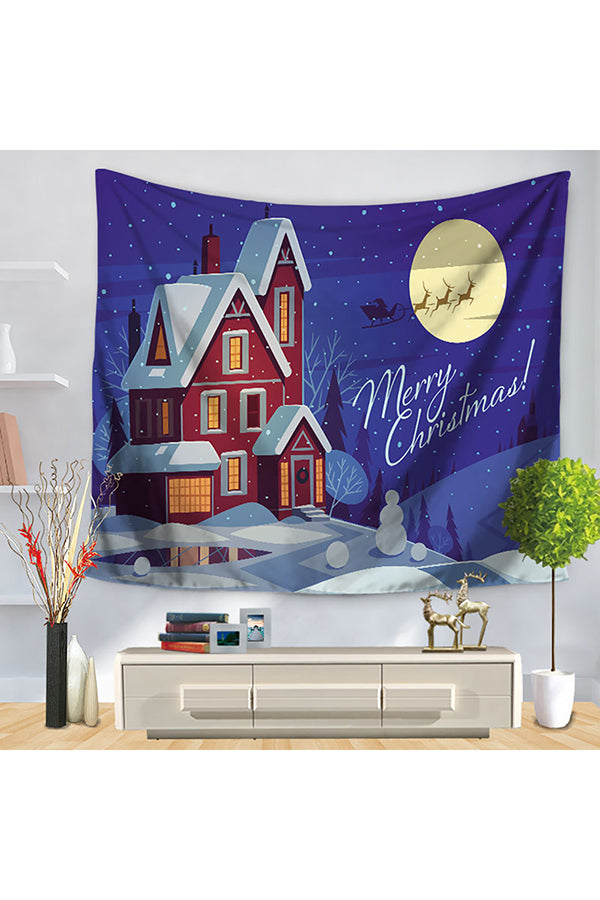 Home Decor Snowflake Happy New Year Merry Christmas Wall Tapestry Blue