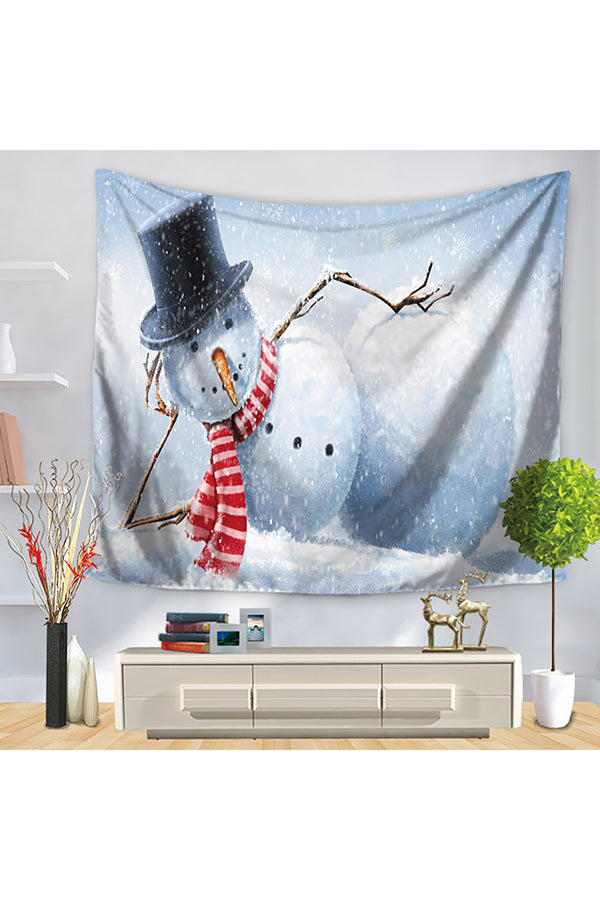 Home Decor Funny Snowman Print Merry Christmas Wall Tapestry White