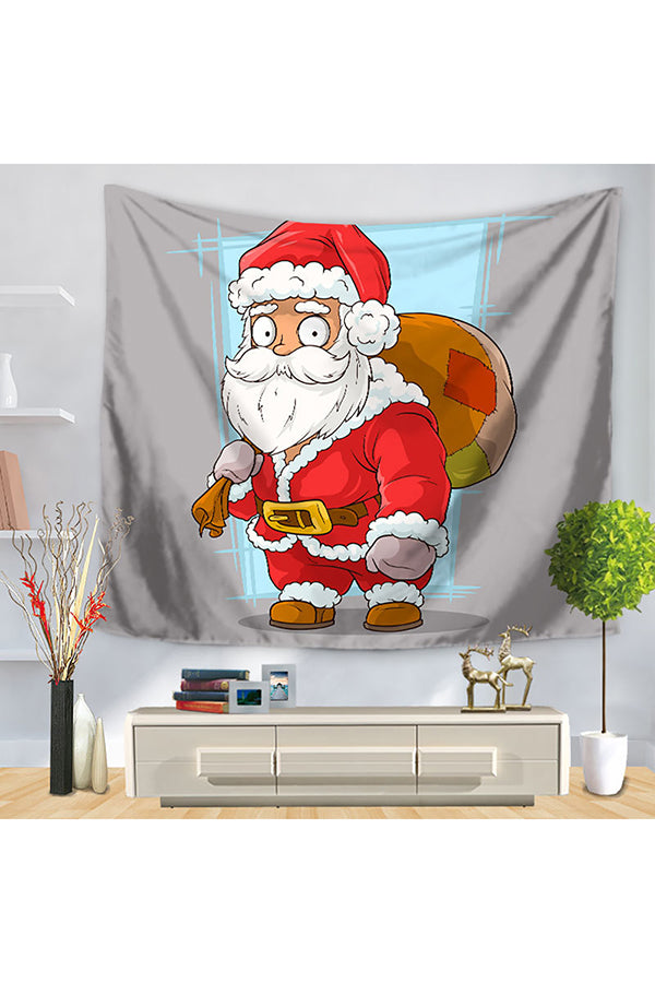 Home Decor Santa Claus With Gifts Print Christmas Wall Tapestry Gray