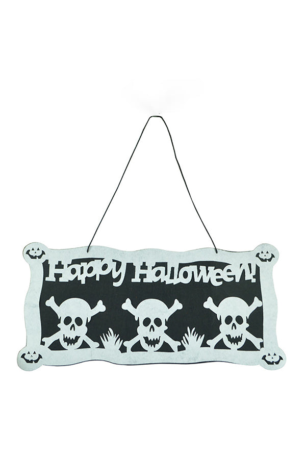 Funny Happy Halloween Skull Door Hanging Home Decor White