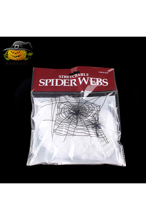 Spider Webs Cotton With 2 Spiders For Halloween Party Home Decor White