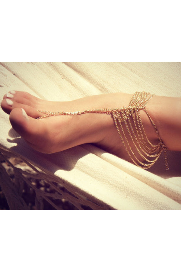 Vintage Multi Layers Tassel Anklet With Toe Ring Silver Gold
