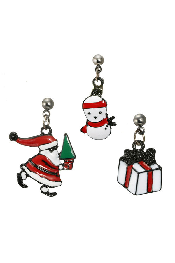 Santa Claus Snowman Gift Pendant Christmas Three Pieces Earrings Red