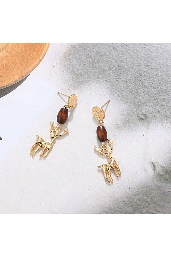 Fashion Stylish Christmas Reindeer Pendant Stud Earrings Gold