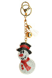 Fashion Cute Christmas Snowman Pendant Dangle Tassel Keychain White