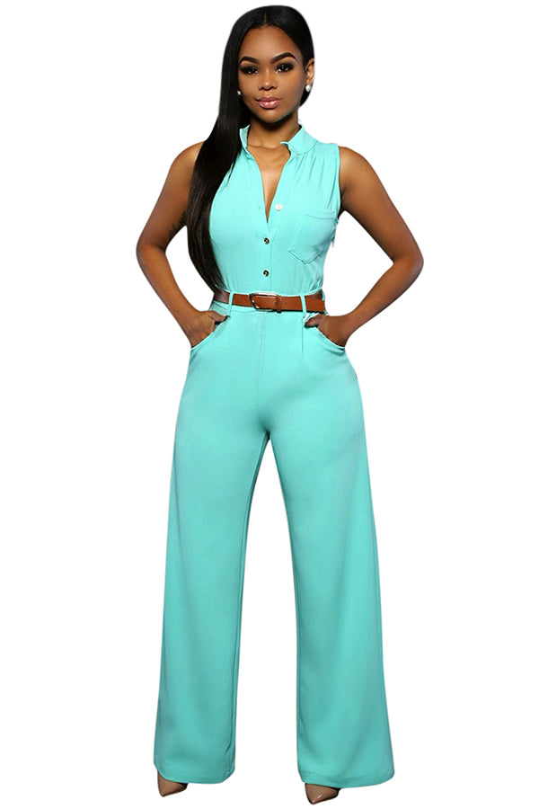 Womens Elegant Sleeveless Belted Wide Leg Jumpsuit Turquoise