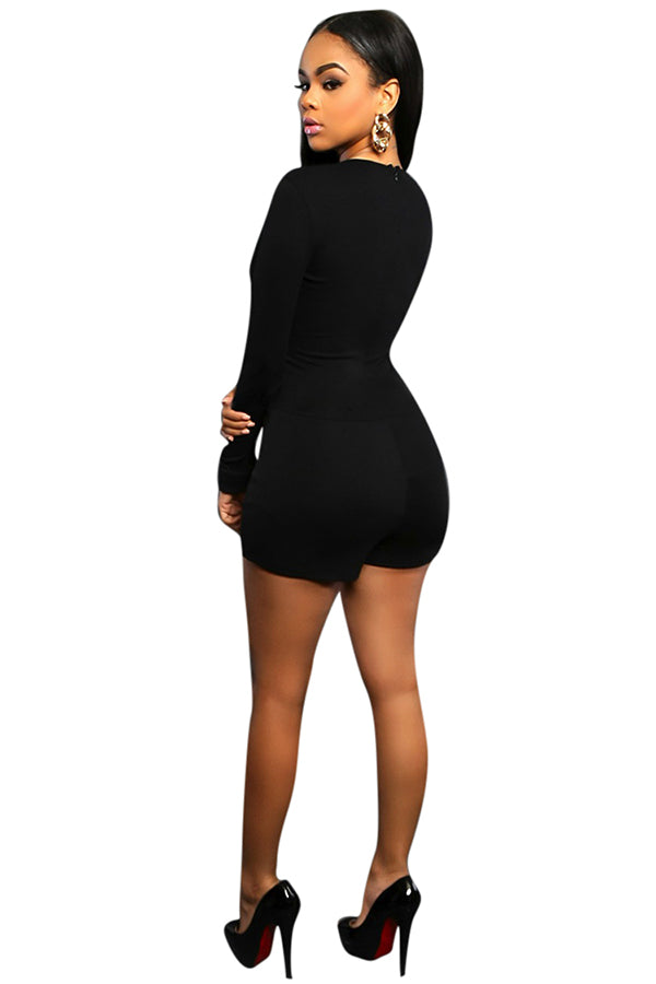 Womens Sexy Plunging Neck Long Sleeve Plain Romper Black