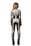 Women Halloween Costumes Skull Printed Jumpsuit Gold