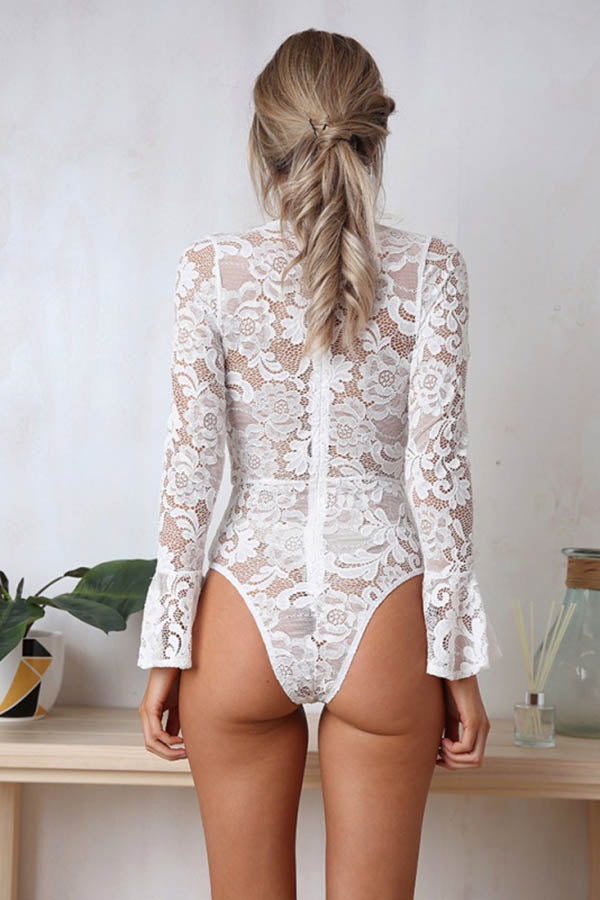 Ribbed V Neck Flare Lace Sleeve Bodysuit White