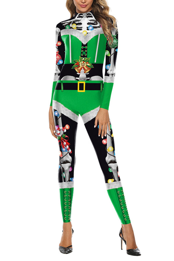 Ugly Skeleton Santa Helper Christmas Jumpsuit
