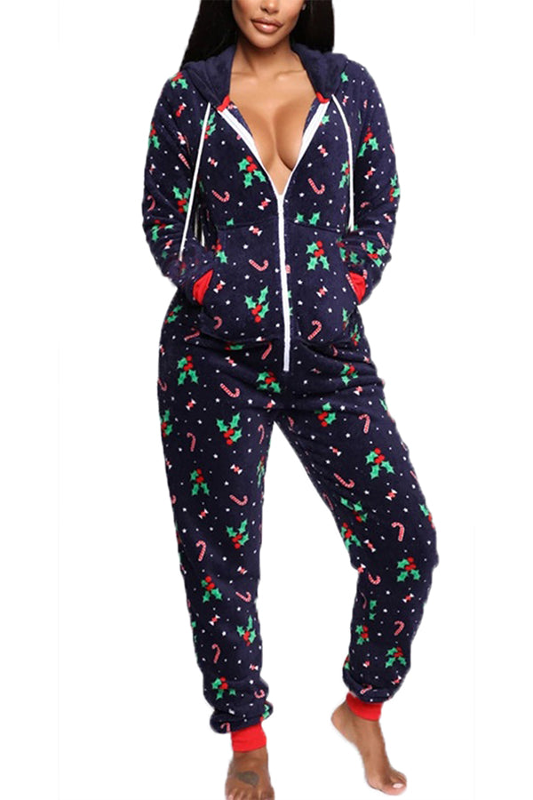 Pocket Zip Front Christmas Onesie Navy Blue