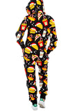 Womens Food Print Holiday Jumpsuit Yellow
