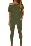 Solid Batwing Sleeve Skinny Pocket Jumpsuit Olive
