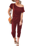 Short Batwing Sleeve One Shoulder Pocket Casual Jumpsuit Ruby